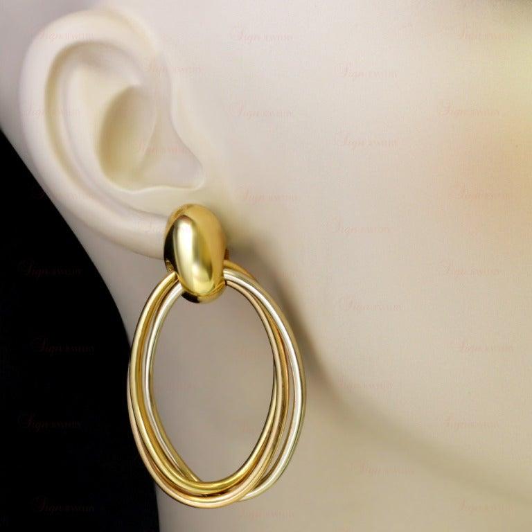 CARTIER 1990s Trinity Tri-Gold Oval Drop Hoop Earrings 4