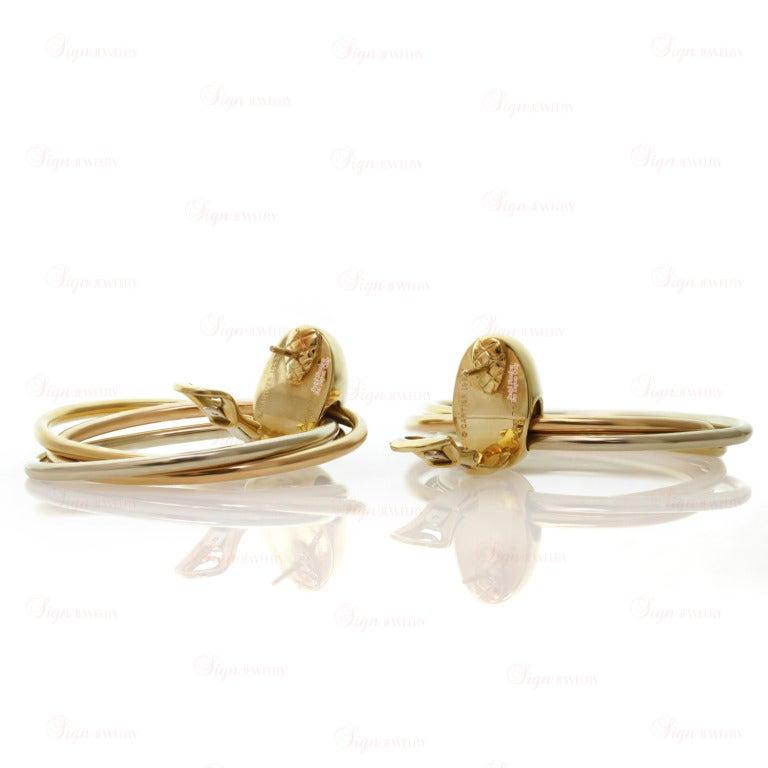 CARTIER 1990s Trinity Tri-Gold Oval Drop Hoop Earrings 6