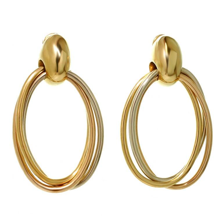 CARTIER 1990s Trinity Tri-Gold Oval Drop Hoop Earrings 1