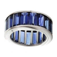 Rare Blue Sapphire Eternity Ring Size 6.5 Platinum Band