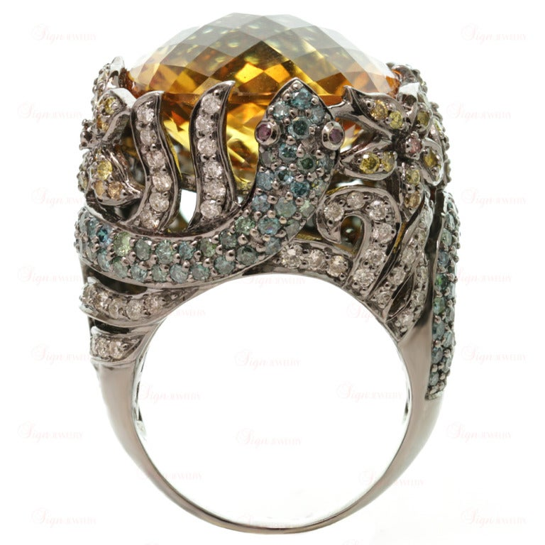 Multi-Color Fancy Diamonds and Large Citrine Cocktail Dome Floral Snake Ring In New Condition For Sale In New York, NY