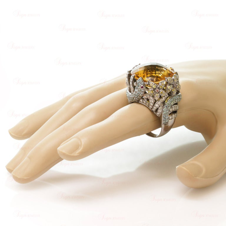 Women's Multi-Color Fancy Diamonds and Large Citrine Cocktail Dome Floral Snake Ring For Sale