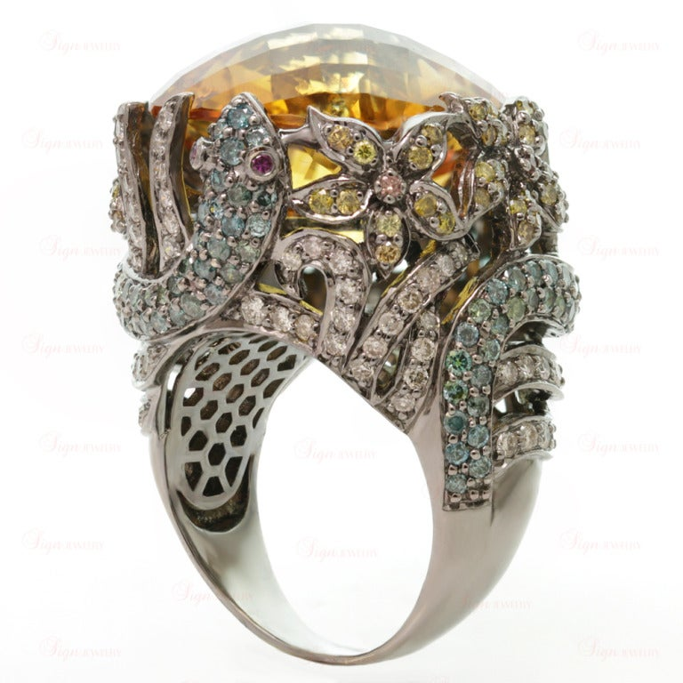Multi-Color Fancy Diamonds and Large Citrine Cocktail Dome Floral Snake Ring For Sale 1