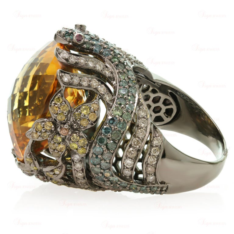 Multi-Color Fancy Diamonds and Large Citrine Cocktail Dome Floral Snake Ring For Sale 3