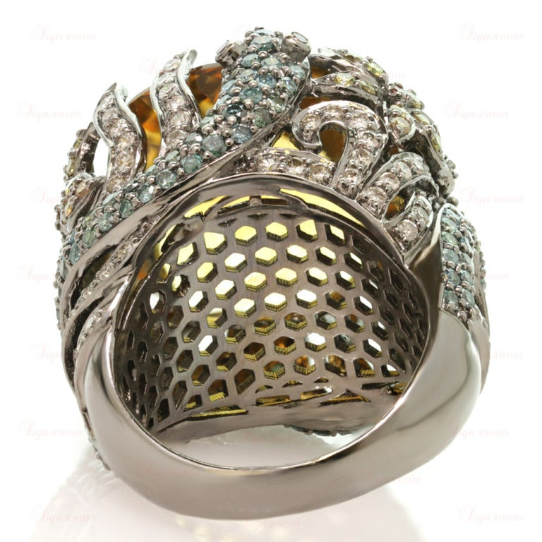 Multi-Color Fancy Diamonds and Large Citrine Cocktail Dome Floral Snake Ring For Sale 5