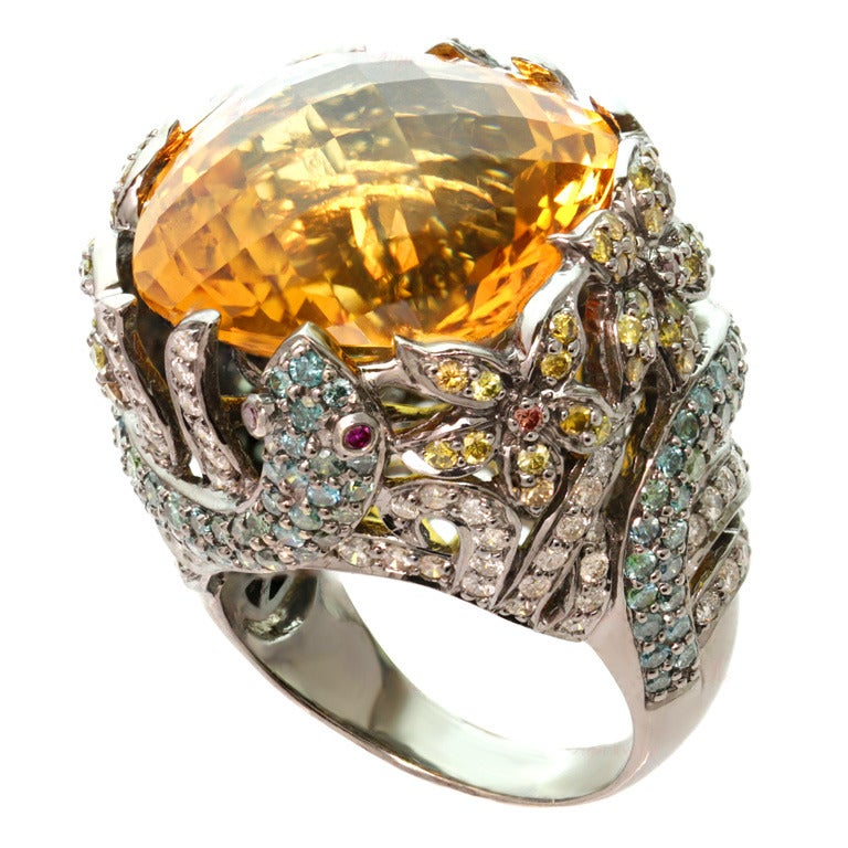 Multi-Color Fancy Diamonds and Large Citrine Cocktail Dome Floral Snake Ring