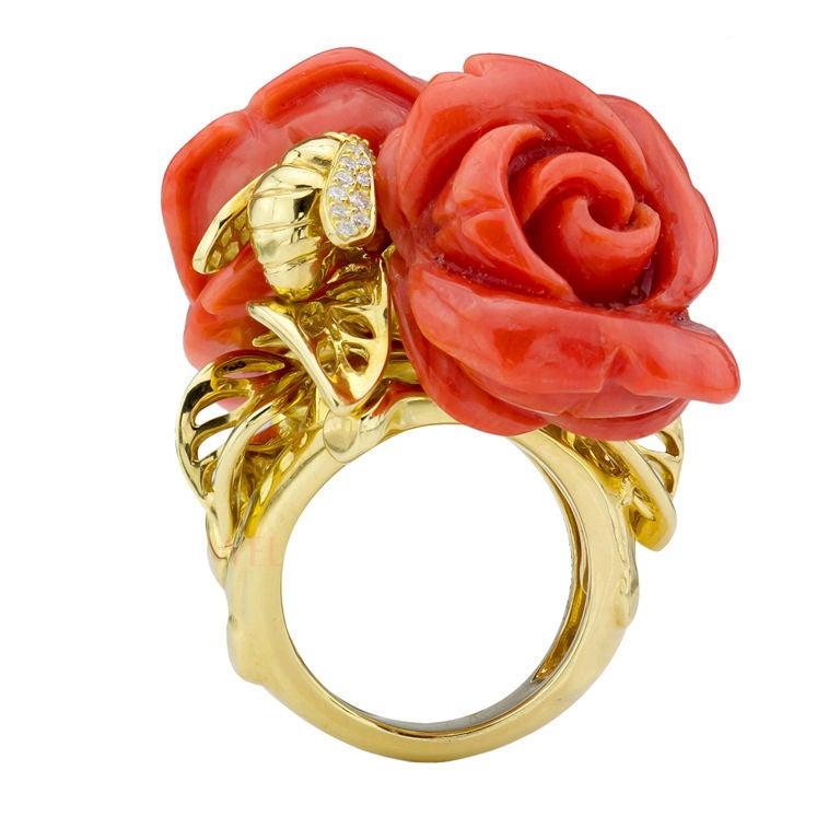d9de8d8723 Christian Dior Rose Dior Pre Catelan Gold Coral Diamond Bee Ring