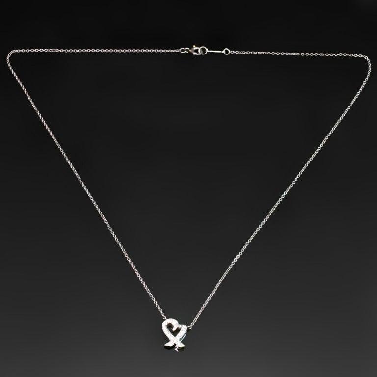 Women's TIFFANY & CO. Loving Heart Diamond Platinum Pendant Necklace For Sale