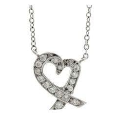 TIFFANY & CO. Loving Heart Diamond Platinum Pendant Necklace