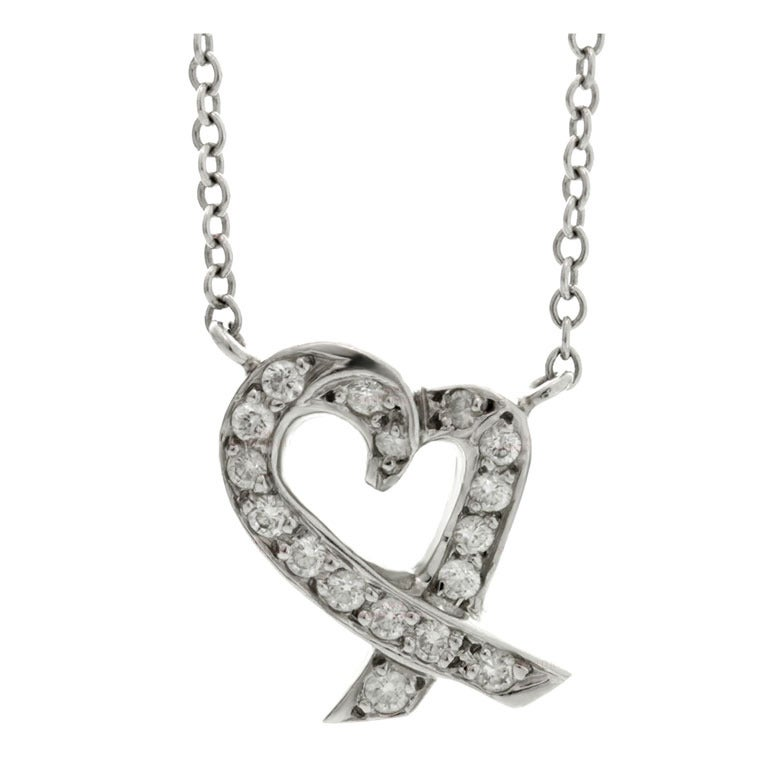 TIFFANY & CO. Loving Heart Diamond Platinum Pendant Necklace