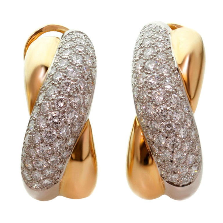 CARTIER Cross-Over Diamond Platinum Yellow Gold Clip-on Earrings