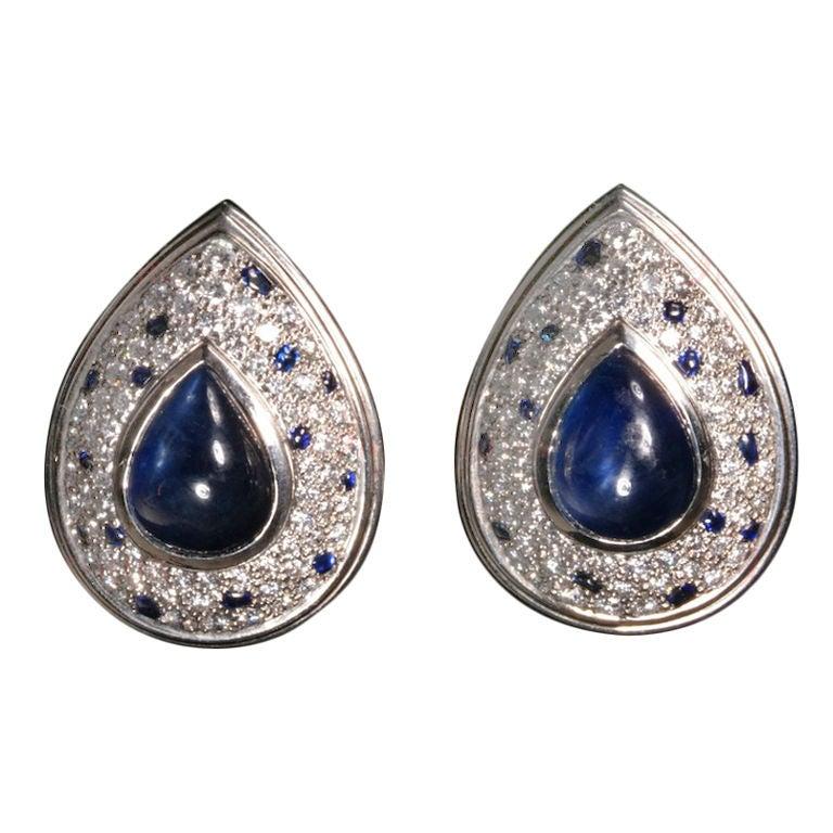Cartier Panthere Diamond Sapphire Platinum Earrings