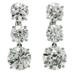 Magnificent circa 1940s Old-European Cut Diamond Platinum Dangling Earrings