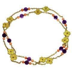 French Four-Leaf Clover Amethyst Coral Long Bead Necklace