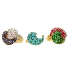 A Set of Five Interchangeable Gemstone Diamond Gold Platinum Rings