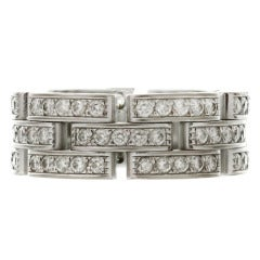 Cartier Maillon Panthere Collection Diamond White Gold Three Row Size 58 Ring