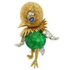 Cartier 1960s Sapphire Emerald Diamond Yellow Gold Bird Brooch