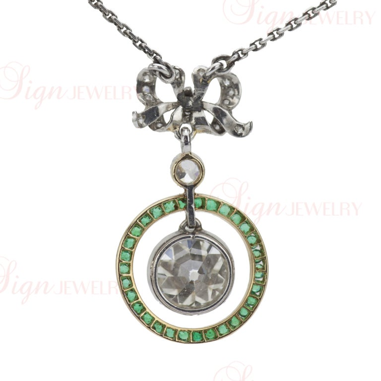 Edwardian BELLE EPOQUE Emerald  Diamond Platinum Yellow Gold Pendant For Sale