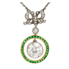 Belle Époque Emerald Diamond Platinum Yellow Gold Pendant