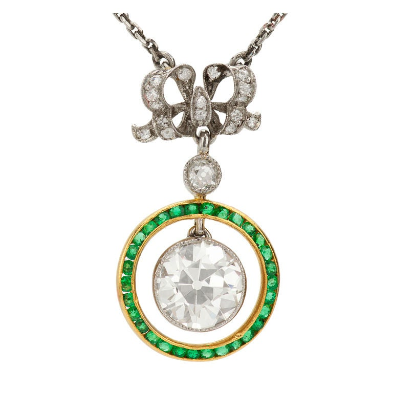BELLE EPOQUE Emerald  Diamond Platinum Yellow Gold Pendant For Sale