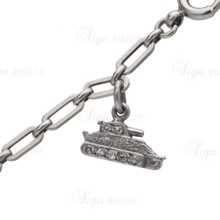 Edwardian Hand Made Gold Platinum Charm Bracelet For Sale 2