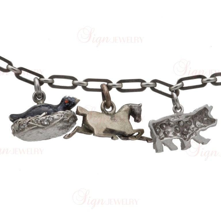Edwardian Hand Made Gold Platinum Charm Bracelet For Sale 4