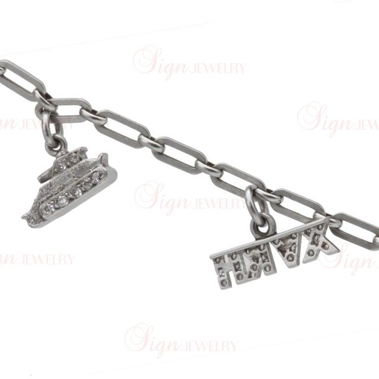 Edwardian Hand Made Gold Platinum Charm Bracelet For Sale 5