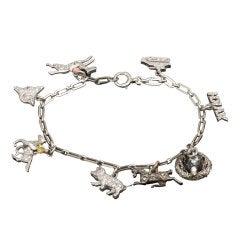 Edwardian Handmade Gold Platinum Charm Bracelet