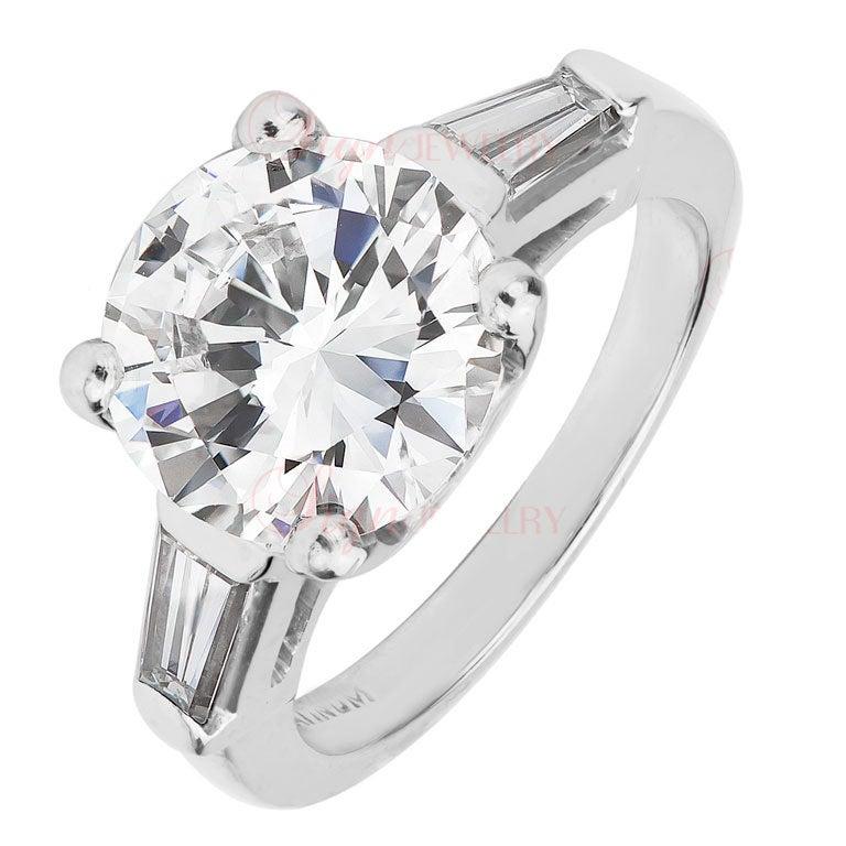 3.92 Carat Round Brilliant Diamond Engagement Ring GIA