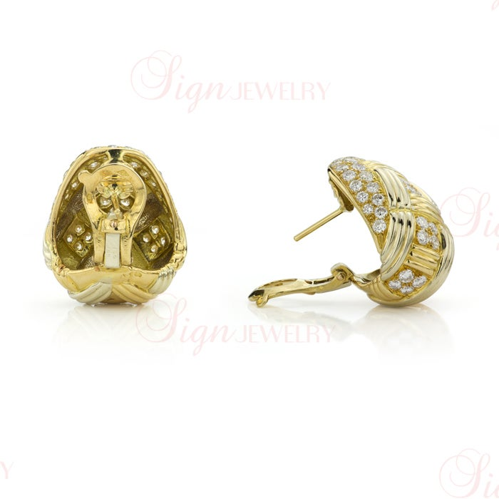 Van Cleef & Arpels Diamond Yellow Gold Ring and Earrings Set For Sale 1