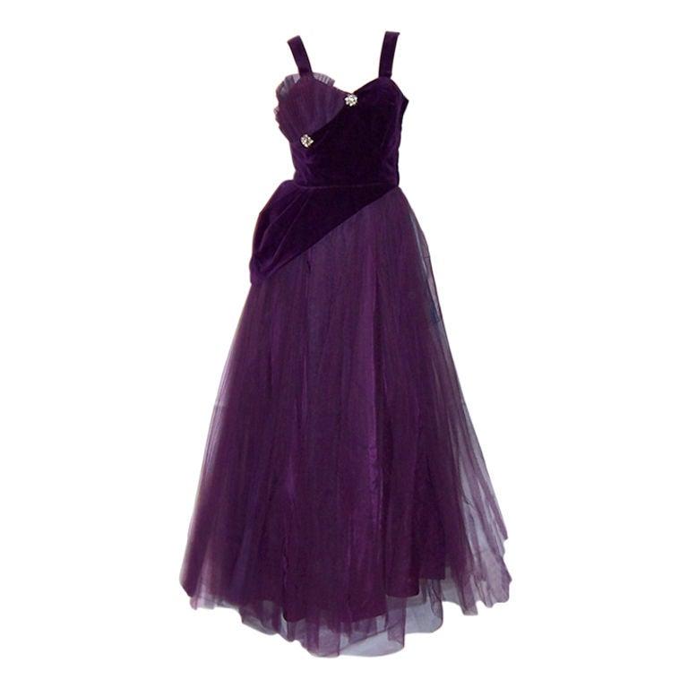 1950 S Violet Tulle And Velvet Ball Gown At 1stdibs