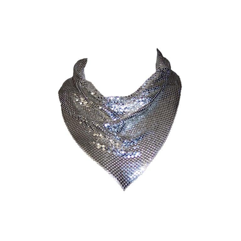 Whiting And Davis Silver Metal Mesh Bib Necklace Collar At