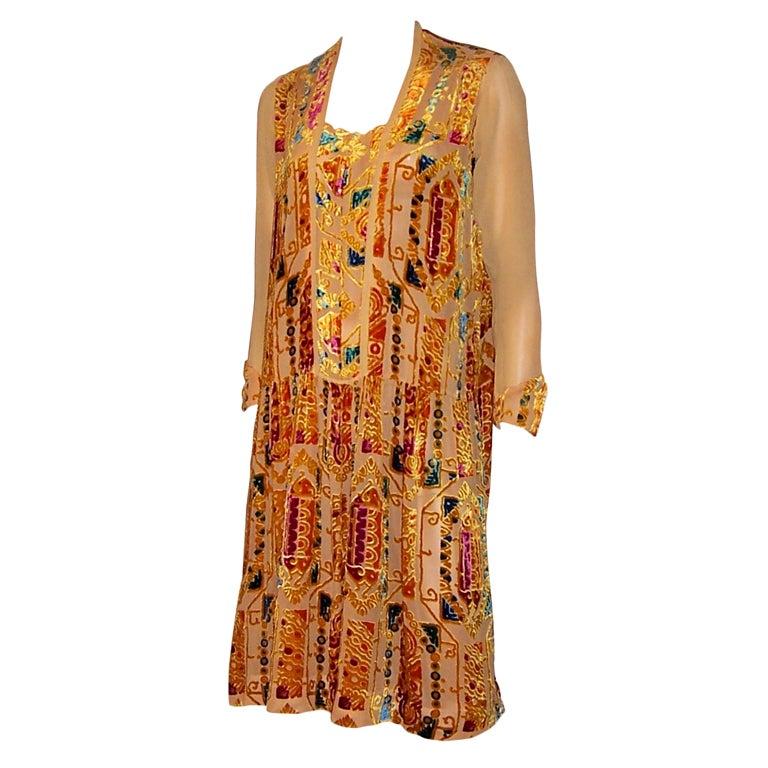 1920 S Gem Of A Dress In Cut Silk Velvet In Jewel Toned