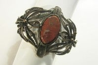 Bronze Filigree Cuff Bracelet with Jasper Center Gemstone thumbnail 2
