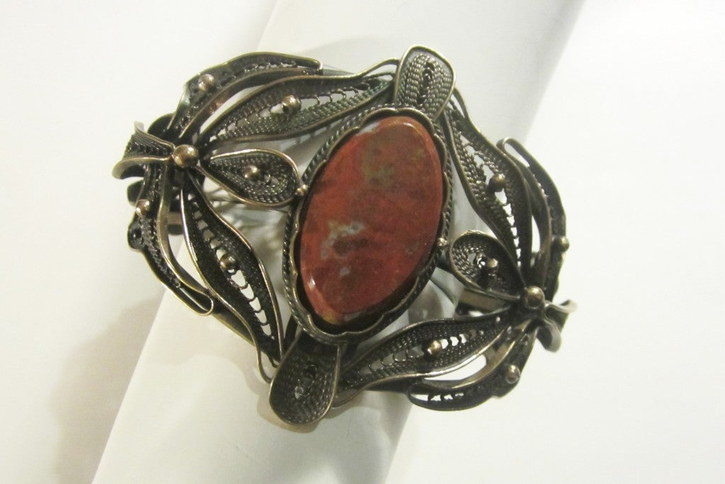 Bronze Filigree Cuff Bracelet with Jasper Center Gemstone image 2