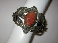 Bronze Filigree Cuff Bracelet with Jasper Center Gemstone thumbnail 3