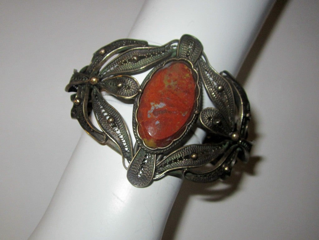 Bronze Filigree Cuff Bracelet with Jasper Center Gemstone image 3