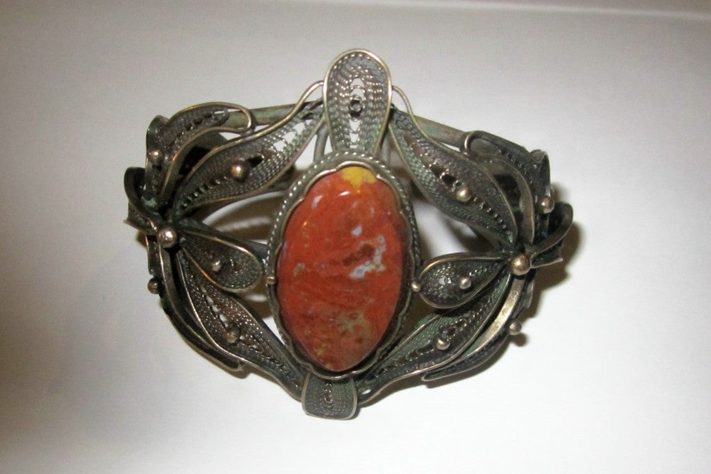 Bronze Filigree Cuff Bracelet with Jasper Center Gemstone image 4