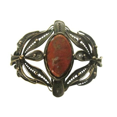 Bronze Filigree Cuff Bracelet with Jasper Center Gemstone