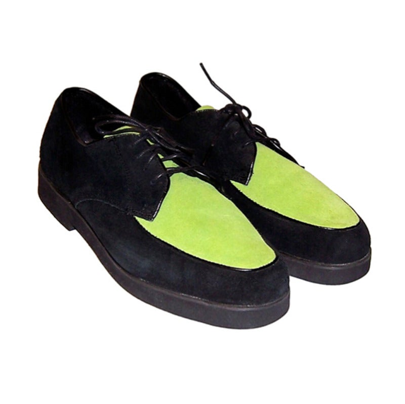 Buffs By Buffalino Men S Chartreuse And Black Suede Shoes