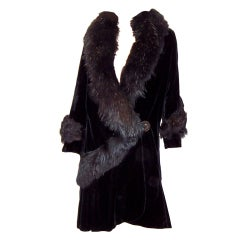 Fabulous 1920's Black Silk Velvet Coat- Black Fur Collar & Trim