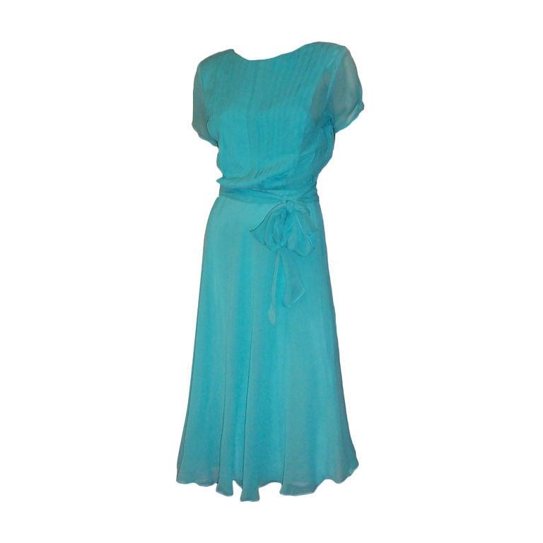 1970 S Turquoise Silk Chiffon Dress By The Silk Farm At
