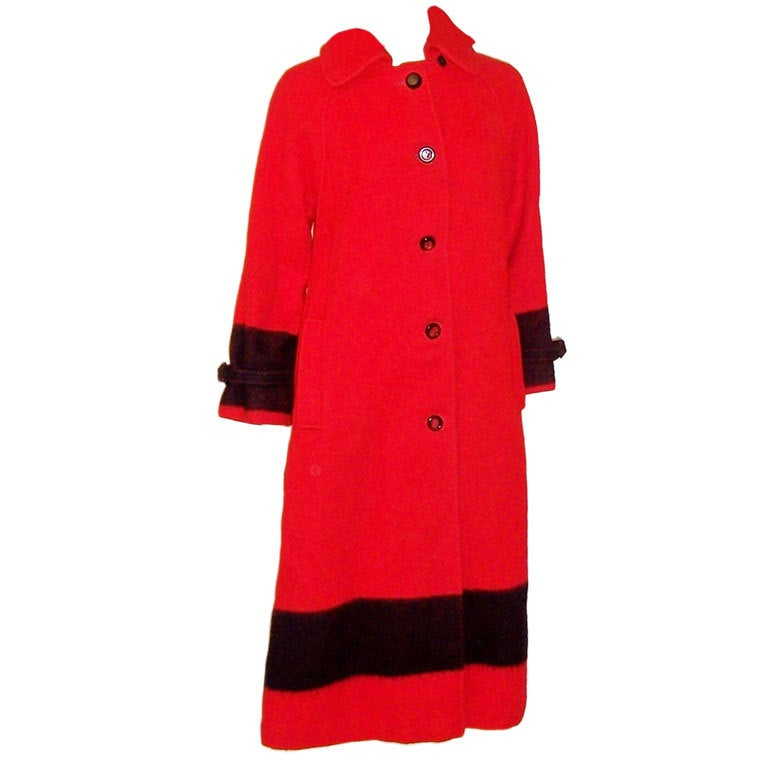hudson bay company red and black four point blanket coat at 1stdibs