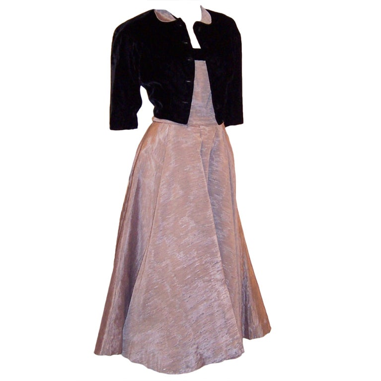 1950's Elegant Muted Pink and Black Velvet Gown with ...