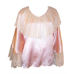 1930's Pink Silk Top with Large Collar & Cuffs of Alencon Lace