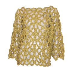Michael Simon for Henri Bendel-Gold Metallic Crocheted Sweater