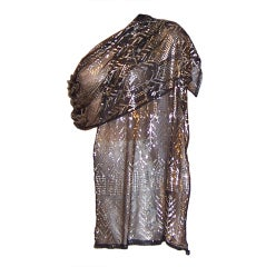 1920's Assuit Egyptian Shawl-Hammered  Silver on Black Tulle