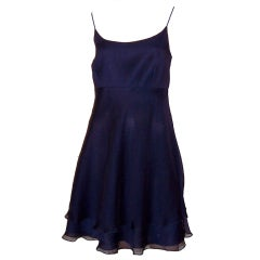 Kay Unger-Evening-Elegant Navy Chiffon Cocktail Dress
