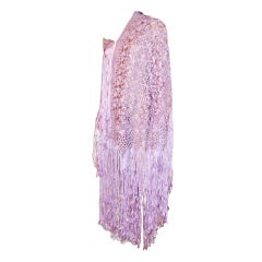Orchid Silk Macrame Shawl with Fringe