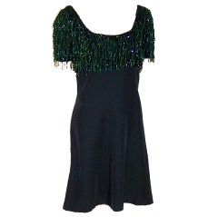 Tomasz Starzewski-Deep Forest Green Beaded Cocktail Dress